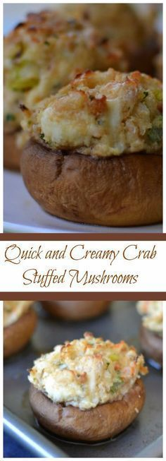 These Quick and Creamy Crab Stuffed Mushrooms are filled with fresh crab, cream cheese, bread crumbs, garlic and Parmesan. You can mix them in a single bowl in about 3 minutes and scoop the mixture in with a cookie scoop. Use gf breadcrumbs Keto Cookies, Appetizers For Party, Appetizer Recipes, Crab Appetizer, Seafood Appetizers, Party Recipes, Sausage Appetizers, Cold Appetizers, Italian Appetizers