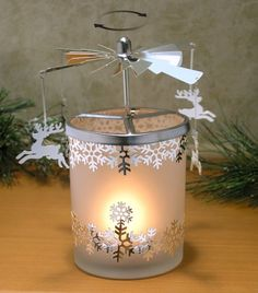 Frosted Glass Spinning Candle Holder - Reindeer Charms with Snowflake Designs Spin Around When Candle Is Burning - Scandinavian Design - Rotary Candle Holder - Christmas Candle Holder Unique Candle Holders, Christmas Candle Holders, Christmas Candles, Glass Candle Holders, Christmas Items, Christmas Decorations, Snowflake Designs, Candle Centerpieces, Tea Light Holder