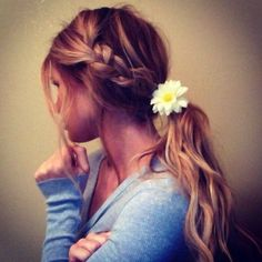 Side braid + beach waves + flower=the perfect summer hair--- I am so ready for summer!!!! Or to move where its forever summer!