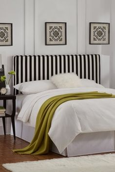 Upholstered Headboard with Welt in Canopy Stripe - Black and White