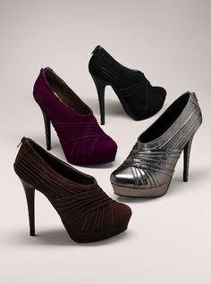 """Part shoe, part bootie, total cutie. Imported suede. 4 1/4"""" heel.    $88"""