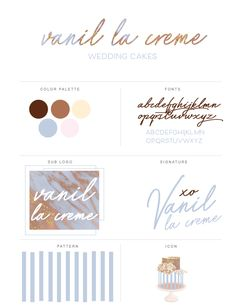 Vanil la creme is a brand that just bubbles with style and sophistication. Gorgeous typography combined with real ice blue, rose and gold marble makes this brand truly sparkle. This brand was designed for businesses who want an upscale, luxurious look and is perfect for Wedding Cake Designers, Artisan Bakeries, Wedding and Event Planners and can even be customized for photographers and jewelry businesses! Click through to see the entire brand (Love it? It's for sale!)