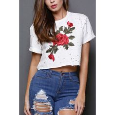 Yoins Fashion Ripped Design Rose Embroidery Crop Top (140 HRK) ❤ liked on Polyvore featuring tops, white, white crop top, white short sleeve top, embroidery top, short sleeve crop top and embroidered top