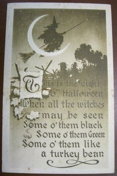 PC1269 HALLOWEEN Postcard 1910 The Gibson Art Flying Witch Crescent Moon #Halloween