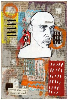 """'Puzzled' Collage and Mixed Media on Board 6 x 4"""", 2013"""