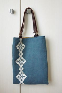 Kogin embroidered tote