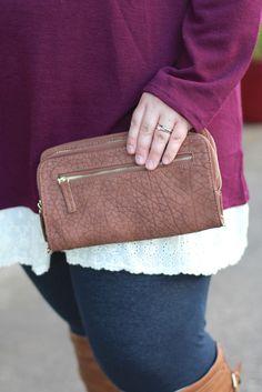 Rochelle Double Zip Wallet {Tan} - The Fair Lady Boutique - 1