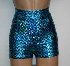HIGH WAISTED MERMAID BOOTY SHORTS W/ 2 WAISTBAND AVAILABLE IN 15 COLORS - ALL SIZES AVAILABLE (Scroll down for size chart) These shiny mermaid