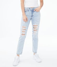 High Top Jeans, Girls Ripped Jeans, Cute Jeans, Boyfriend Jeans, Girls Fashion Clothes, Teen Fashion, Fashion Outfits, Riped Jeans, Jeans Store