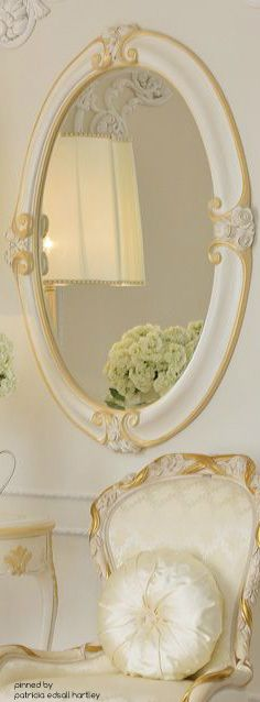 High End Italian Ivory and Gold Oval Mirror