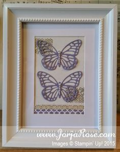 """By Kathe Oldham for """"The JorjaRose Files"""", Altered Butterfly Frame, featuring Stampin' Up! stamp sets """"Butterfly Basics"""" and """"Painted Petals"""" + """"Butterflies"""" Framelits ..."""
