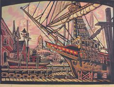 Galleon Mayflower in Drydock, by Don Gorvett Block print