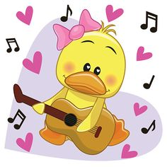 Duck with guitar. Duck with a guitar on background music and hearts vector illustration Vogel Clipart, Bird Clipart, Pollo Animal, Duck Cartoon, Bird Tattoo Wrist, Duck Bird, School Clipart, Funny Birds, Animaux