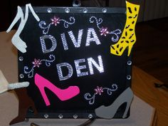 I made this for my co-worker who is obsessed with shoes for our dept gift exchange.  She calls her cubicle the Diva Den.  Made the shoes out of fimo dough