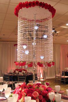 Crystal & rose chandelier