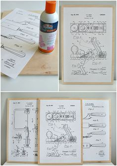 Free patent drawings make easy and inexpensive wall art! Post includes FREE download of #woodworking tool diagrams #patentdrawing #diywallart