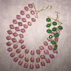 Amrita Singh reversible cleopatra necklace Purple and jade with gold links. Amrita Singh Jewelry Necklaces