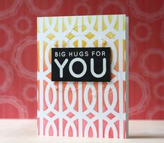 Love this thank You card by Laura Bassen using Simon Says stamp Exclusives. Handmade Thank You Cards, Greeting Cards Handmade, Pretty Cards, Love Cards, Quick Cards, Diy Cards, Big Hugs For You, Trellis Gate, Simon Says Stamp