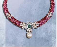 Indian Jewelry Earrings, Fancy Jewellery, India Jewelry, Diamond Jewellery, Jewellery Designs, Gemstone Jewelry, Jewelry Sets, Ruby Necklace, Diamond Necklaces