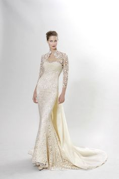 Peter Langner: Scarlati. Full guipire lace gown with lace jacket. Love it.