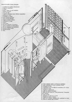 By HoNeLe La Maison du Verre Pierre Chareau pierre chareau Architecture Student, Architecture Drawings, Architecture Plan, Interior Architecture, Classic Architecture, Axonometric Drawing, Famous Architects, Le Havre, Detailed Drawings