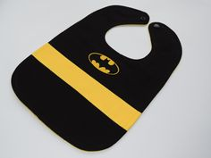 Batman Baby Bib // Batman First Birthday // Black and Yellow Batman Bib // Super…