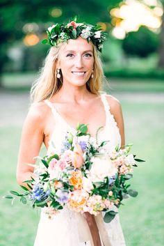 Love this bride! Flower Crown & Bridal Bouquet; Dahlias, Peonies, Ranunculus, Sweet Pea, Queen Anne's Lace,  Delphinium, Feathered & Standard Eucalyptus, Ruskus; Poplar Grove Plantation; Sean Carr Photography; Design Perfection Weddings