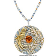The Feathered Cloak medallion, Multi-Stone, Diamond, Platinum, Gold Necklace, Francesca Amfitheatrof for Tiffany & Co. spessartine garnet weighing 11.44 carats, enhanced by round-cut aquamarine, accented by full, marquise and baguette-cut diamonds , complemented by round-cut multi-color sapphires, set in platinum and 18k gold. Heritage Auctions logo America's Auction House Gold Necklace, Pendant Necklace, Tiffany Jewelry, Tiffany And Co, Cloak, Baguette, Garnet, Diamond Cuts, 18k Gold