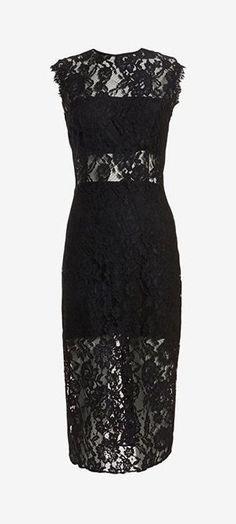Alexis Lace Pencil Dress: Black