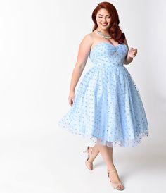 1950s Style Cocktail Dresses & Gowns 1950s Periwinkle Swiss Dot Dandridge Swing Dress  Size 4XL $98.00 AT vintagedancer.com