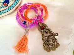 Morroccan style KUCHI bracelet with tassel  bohemian gypsy