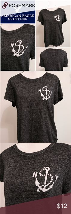 🦅 American Eagle T-Shirt Everyone's favorite T from American Eagle. Extremely soft and comfortable gray t-shirt with an anchor and NY. Perfect with your favorite pair of shorts or jeans. Size XL American Eagle Outfitters Tops Tees - Short Sleeve