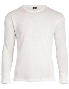 JBS - Maglietta della salute da uomo, a maniche lunghe, scollo rotondo, motivo 993, in lana, Bianco (bianco), XXL