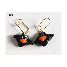 Halloween Earrings, Bat Earrings, Handmade Earrings, Novelty Earrings