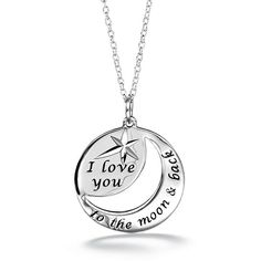 """Say something that means the world to the one you love. Sterling Silver round open design pendant on a sterling silver chain. One side forms a crescent moon and is engraved with """"to the moon and back"""". The cut out in the middle of the round pendant is also crescent shaped. Across from the crescent is a etched star with the words """"I love you"""". Regularly $39.99, buy Avon Jewelry online at http://eseagren.avonrepresentative.com"""