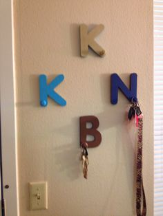 DIY key hooks for your house/car/work keys.