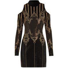 Balmain High-neck embellished velvet dress (€2.120) ❤ liked on Polyvore featuring dresses, studded dress, embelished dress, velvet cocktail dress, embellished dress and cold shoulder cocktail dress