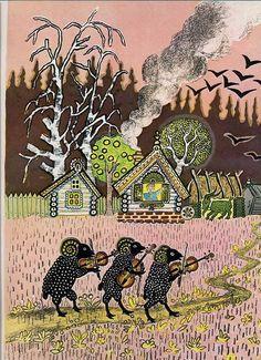Yuri Vasnetsov (Russian, 1900-1973). Illustration of three black sheep playing fiddles.