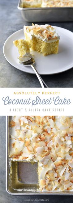 Perfect Coconut Sheet Cake - light fluffy coconutty cake, paired with a equally fluffy coconut buttercream and topped with toasted coconut. Just Desserts, Delicious Desserts, Dessert Recipes, Frosting Recipes, Light Fluffy Cake Recipe, Cupcakes, Cupcake Cakes, Coconut Sheet Cakes, Cheesecakes