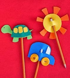 Fun Foam Craft Projects for Kids Foam Pencil Toppers Practicing the alphabet or writing thank you cards is way more fun for your child when her pencil is topped with a fun foam craft! Make It: Layer crafts foam shapes to create simple designs, such a Kids Crafts, Craft Projects For Kids, Toddler Crafts, Diy For Kids, Arts And Crafts, Craft Ideas, Sun Crafts, Play Ideas, Baby Crafts