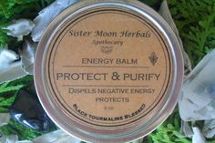 Protect & Purify Balm Black Tourmaline by SisterMoonHerbals Protection Stones, Black Tourmaline, Negative Thoughts, Cleanse, The Balm, Herbalism, Essential Oils, Quartz, How Are You Feeling