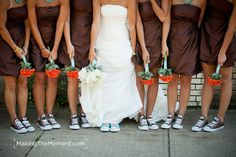 Love this! Simple brown dress, Brown shoes, orange flowers, and I have orange converse and my bouquet will be all the colors......??maybe