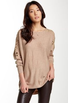 Lace Trim Dolman Sleeve Pullover