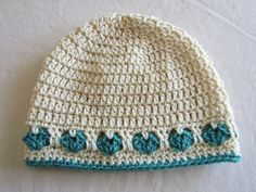 Crochet Hat with Hearts in Ivory and Jade by WarmingHeartsCrochet