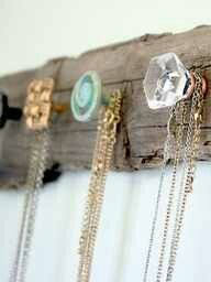 DIY - Jewelry Holder - Source: http://visiblymoved.blogspot.com/2012/01/diy-necklace-holder.html?m=1