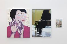 Marie Angeletti  TLYA 18_Instant magique/ TLYA 19_Piano/ TLYA 20_Palais des Papes  2014 Oil on canvas, C-print and watercolour on paper 116 x 88 cm, 111 x 74 cm, 32 x 24 cm