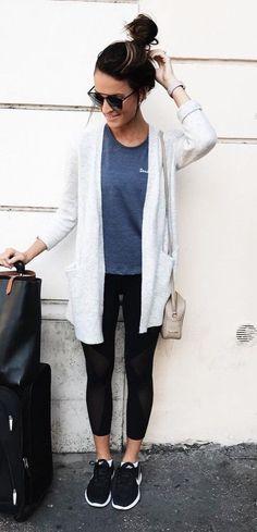 #pretty #winter #outfits / White Cardigan // Grey Tee // Black Leggings // Black Sneakers