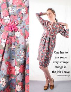1960's Mad Men Casual Floral Pattern Day Dress // by sideshowsam, $76.00