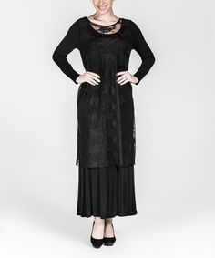 This Black Lace-Overlay Maxi Dress - Plus Too is perfect! #zulilyfinds