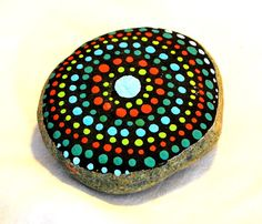 Painted rock garden stone